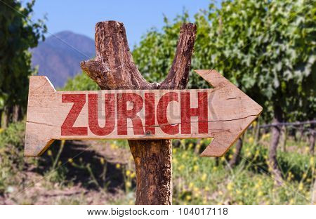 Zurich wooden sign with winery background