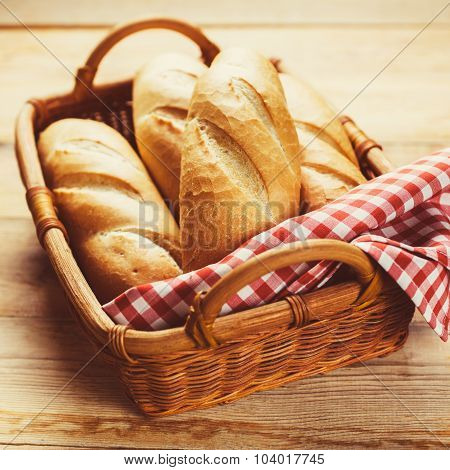 Freshly baked bread rolls in a basket
