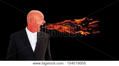 Man Screaming With Flames Coming Out Of Mouth