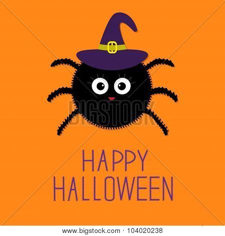 Cute Fluffy Spider In Witch Hat. Happy Halloween Card. Flat Design