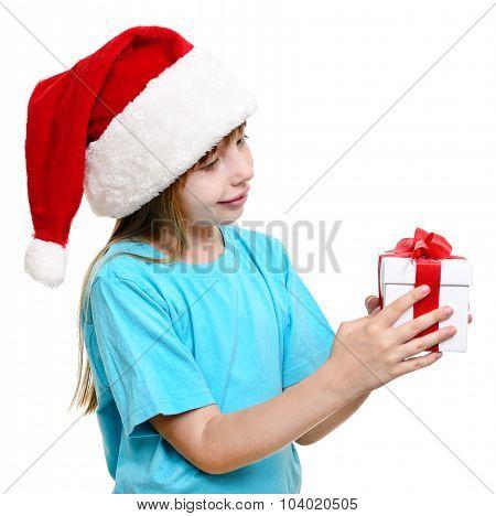 Christmas Santa Girl With Gift.
