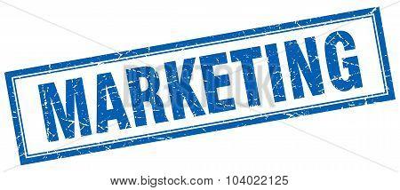 Marketing Blue Square Grunge Stamp On White