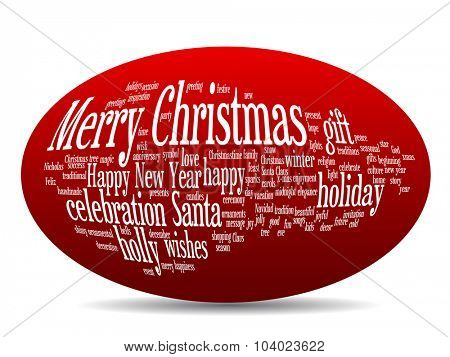 Concept or conceptual 3D oval or ellipse Merry Christmas holiday or Happy New Year winter abstract text word cloud on red background