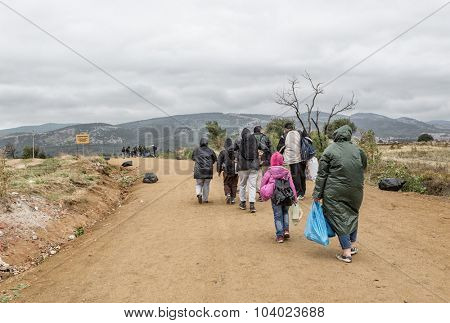 SERBIA -September 2015: Rainy day, dirt road..The entry of immigrants to Serbia at the border crossing Miratovac, Macedonia