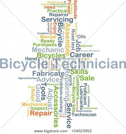 Background concept wordcloud illustration of bicycle technician