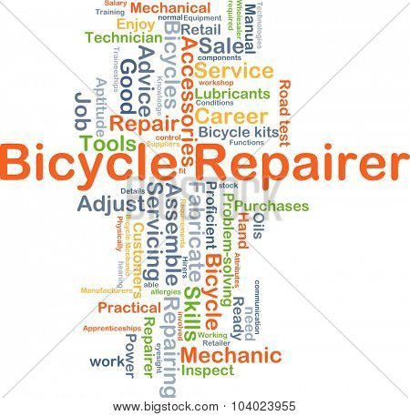 Background concept wordcloud illustration of bicycle repairer