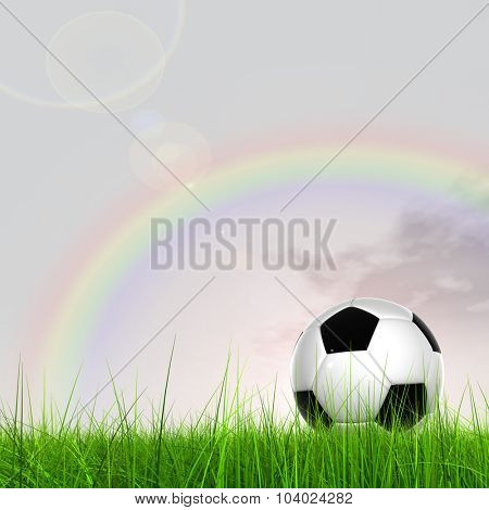 Concept or conceptual 3D soccer ball in fresh green summer or spring field grass with a blue sky rainbow background