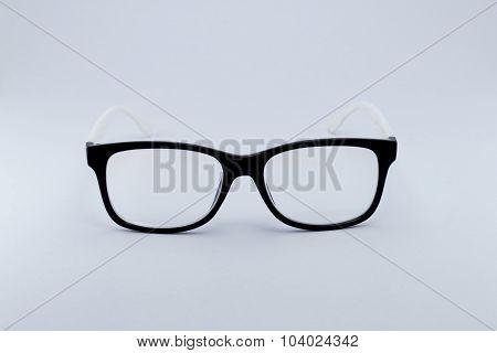 Black Glasses To Improve Eyesight Isolated On White Background