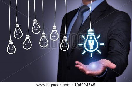 Human Idea Bulb Concepts on Human Hand