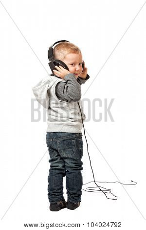 little child with headphone isolated on white background