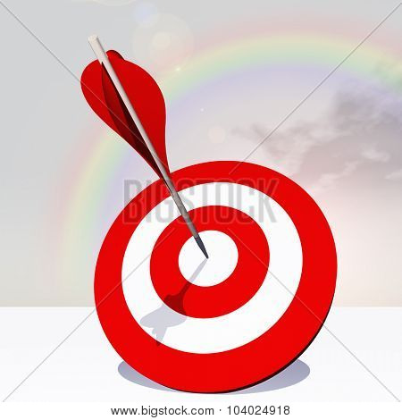 Concept or conceptual red dart target board with arrow in the center on clouds with rainbow sky background