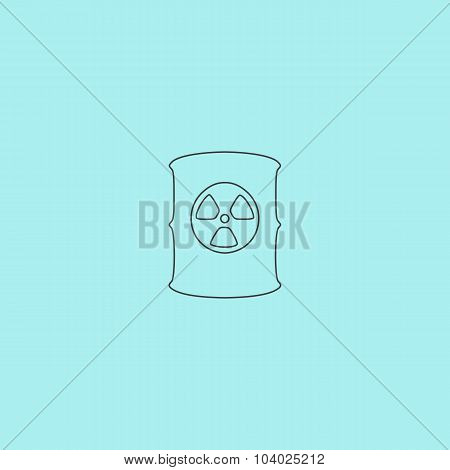 Container with radioactive waste vector icon