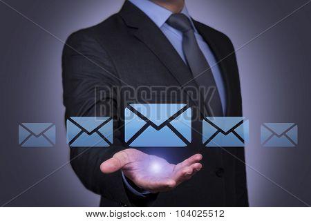 Mail Letter Sending on Human Hand