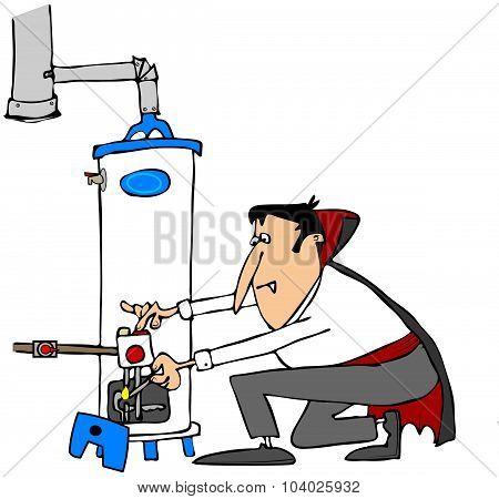 Vampire lighting a water heater