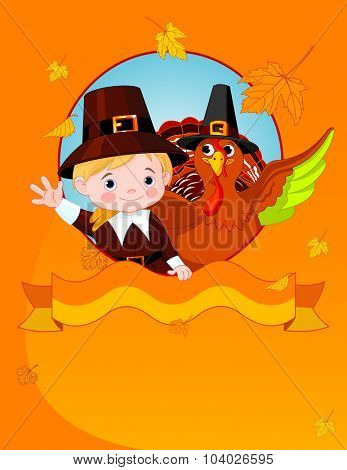 Illustration of Pilgrim and turkey congratulates