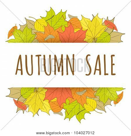 Autumn Sale Label With Hand Drawn Fallen Leaves