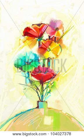 Abstract Oil Painting Of Spring Flower. Still Life Of Yellow, Green And Red Gerbera And Poppy
