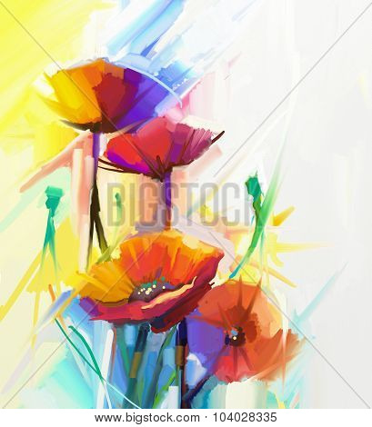 Abstract Oil Painting Of Spring Flower. Still Life Of Yellow, Pink And Red Poppy