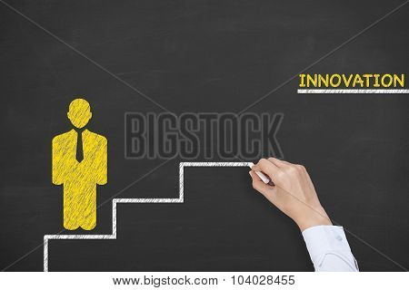 Innovation Step Concepts Drawing on Blackboard