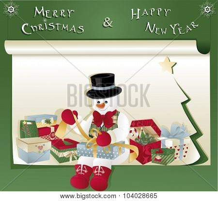 Christmas Card With Snowman And Gift