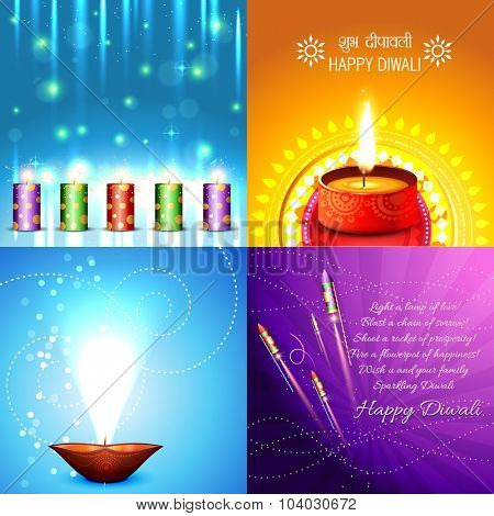 vector collection of beautiful diwali background illustration, shubh deepawali (translation: happy diwali)