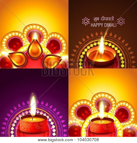 vector beautiful set of diwali background illustration, shubh deepawali (translation: happy diwali)