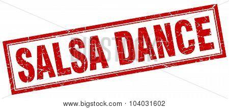 Salsa Dance Red Square Grunge Stamp On White