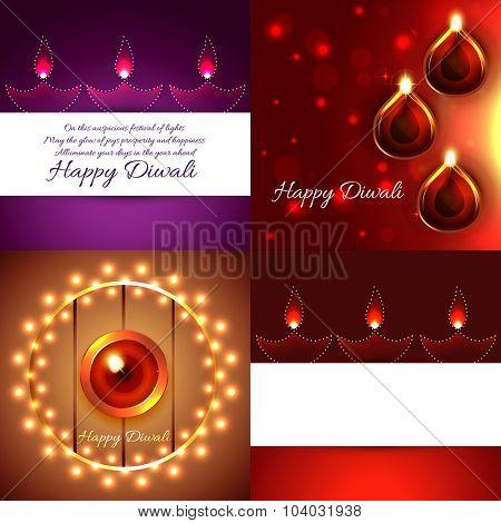 vector creative background set of diwali design with attractive diya illustration