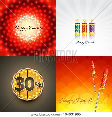 vector set of diwali background with crackers and creative abstract illustration