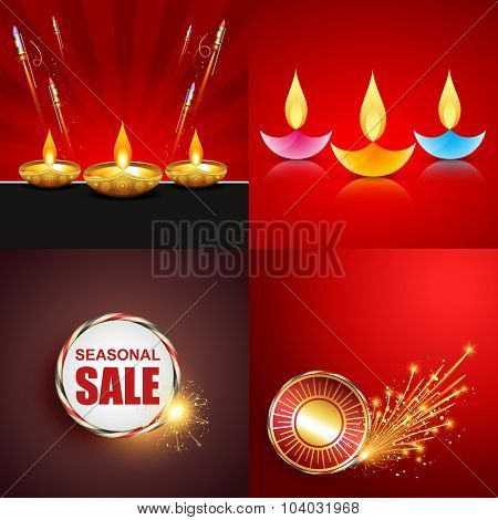 vector set of diwali background with crackers and colorful diwali diya illustration