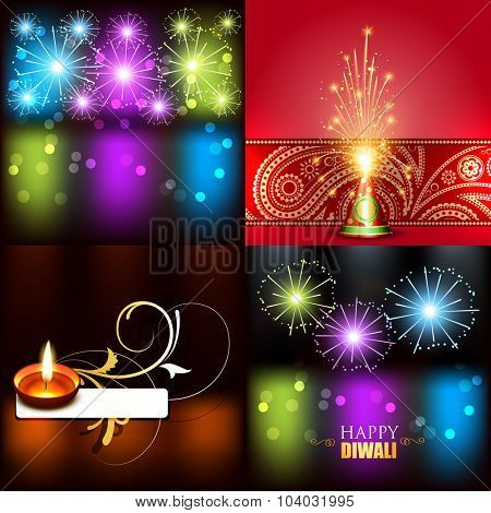 vector collection of beautiful background of diwali with crackers