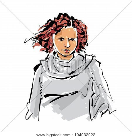 Colorful Hand Drawn Illustration Of A Woman On White Vector Background, Red-haired Girl.