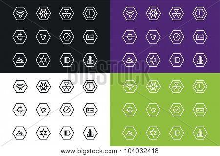 Outline space vector UI technology icons set. Web net vector ui hud gui user interface for web and mobile. Application, web interface, GUI interface, UI interface icons, HUD interface. Space web icons