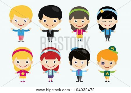 Vector cute cartoon boys and girls together. Children vector people. Vector kids different costumes. Kids characters countries of the world in national costumes. Vector kids, children, kids