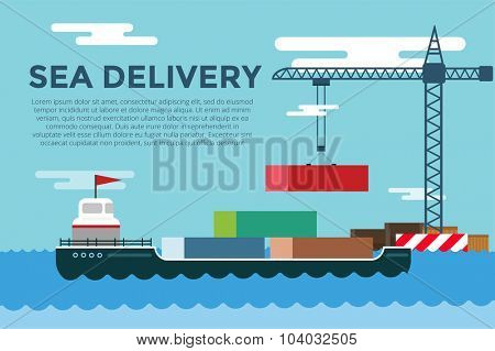 Vector transportation concept illustration. Sea shipping in dock terminal. Crane, box, sea, ship, delivery. Transport ship sea view. Sea delivery ship with crane,  boxes, port station. Global delivery