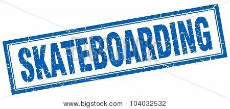 Skateboarding Blue Square Grunge Stamp On White
