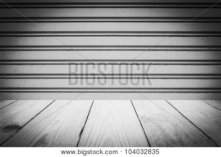 Black And White Steel Sliding Doors , Metal Sheet Slide Door Texture And Wood Texture For Background