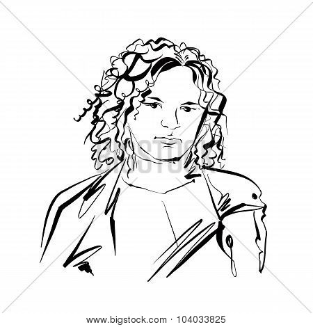 Black And White Hand Drawn Illustration Of A Woman, Vector Sad Girl With Curly Hair.