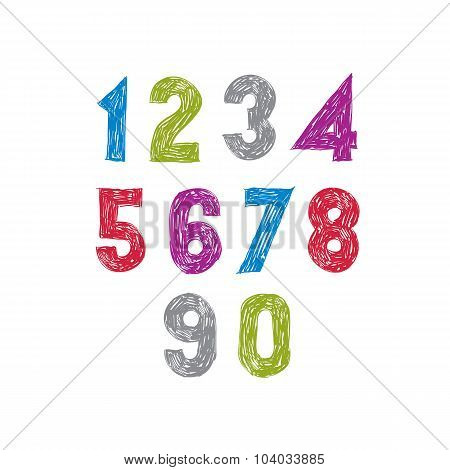 Contemporary handwritten vector digits with unusual texture.