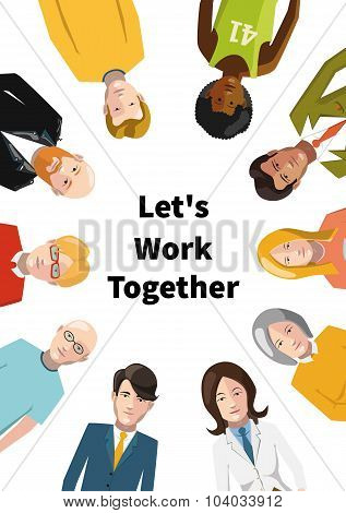 International group of people working in team, flat illustration on white background a4 paper size