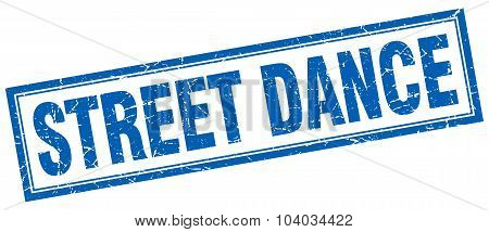 Street Dance Blue Square Grunge Stamp On White