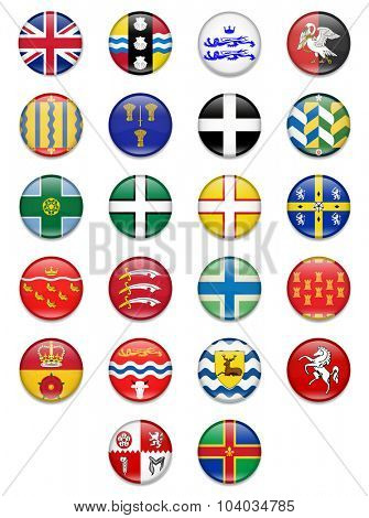 Uk Counties Button Flag Collection