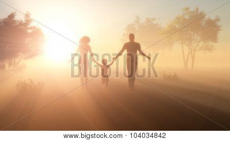 Family walking in the field.