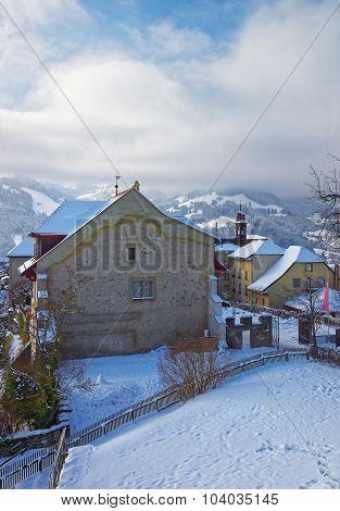 Swiss Village Of Gruyere In Switzerland