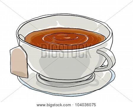 Tea Cup Cute Art Painting Illustation