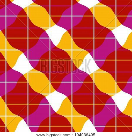 Retro Mosaic Seamless Pattern, Vector Background.