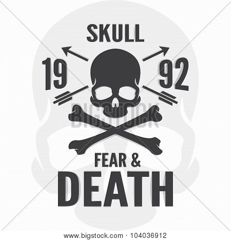 Fear and death print. Skull and cross bones logo. Vector calligraphy lettering