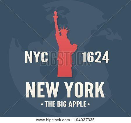 New York t-shirt apparel fashion design. Vintage retro Statue of Liberty print poster.