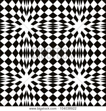 Black and white simple geometric vector mosaic seamless pattern