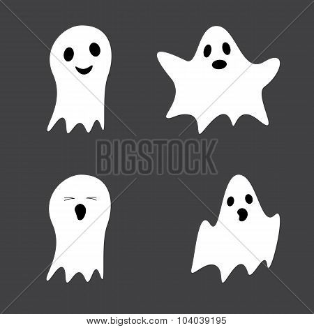 Set Of Cute Ghosts
